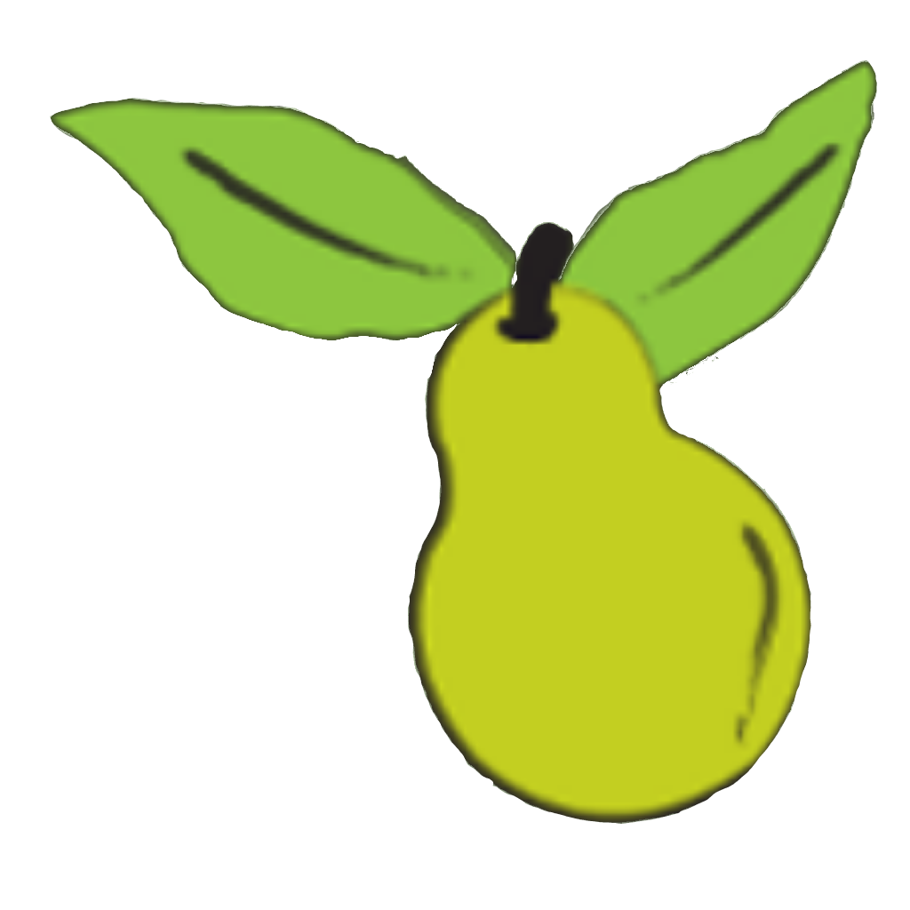 Growstuff brand logo (drawing of a pear)